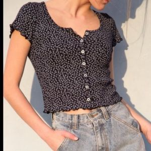Navy Zelly Top with Flowers